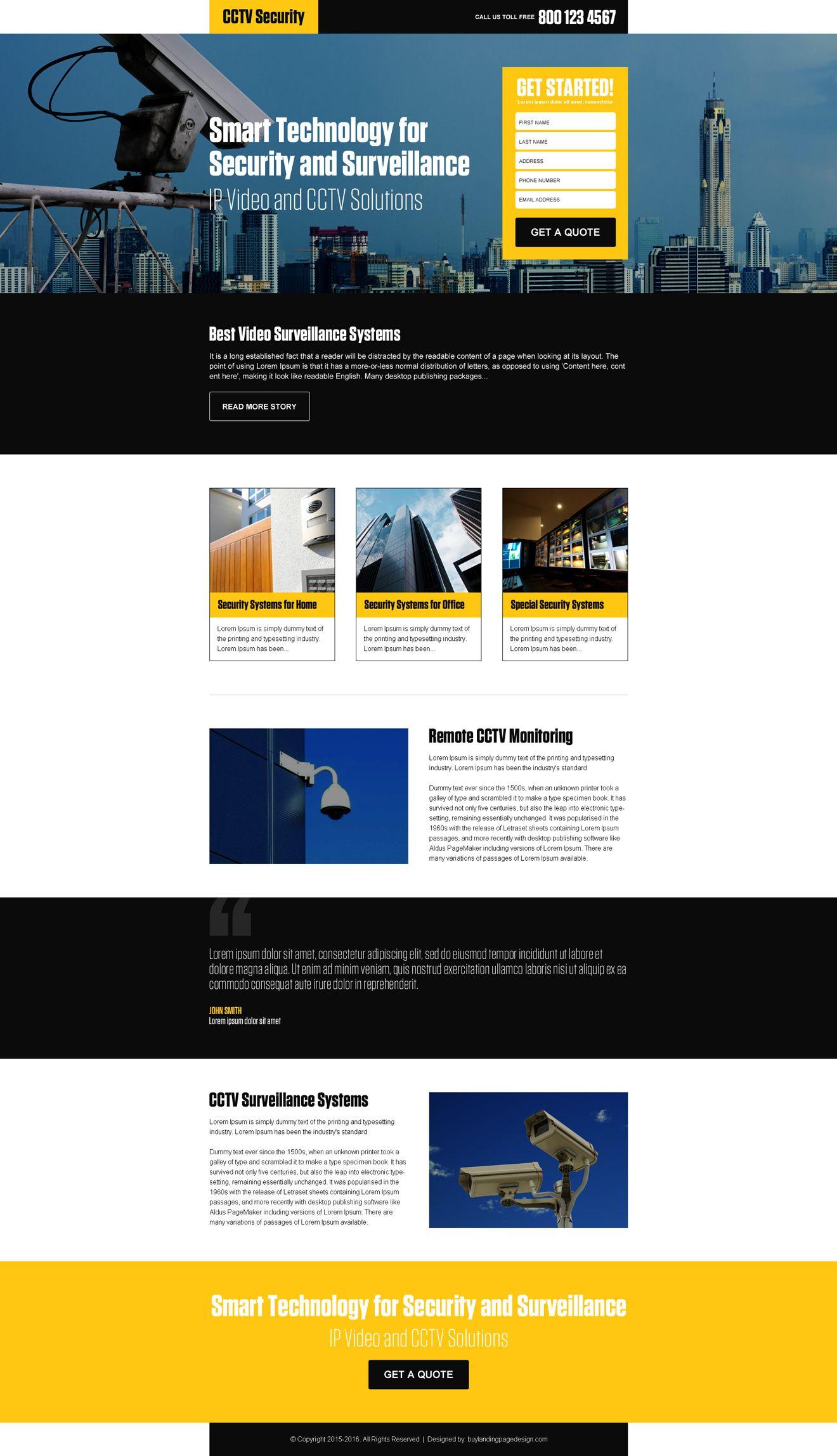 Best Video Surveillance Security Responsive Landing Page Design Landing Page Design Real Estate Landing Pages Page Design