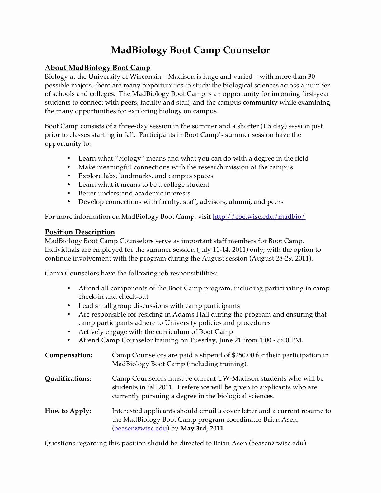 camp counselor resume job description