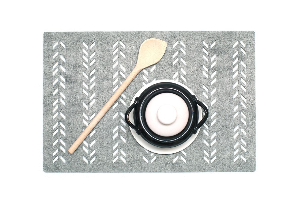 Set Placemats. Felt is perfect for protecting your table.  Available for selection:  Set of 4 Placemats. Set of 6 Placemats. Set of 8 Placemats. Item Description:  ✔ Material: Polyester Felt ✔ Size: 17 x 11 inches (44 x 29 cm) ✔ Different color: - Black - Gray Care: Spot clean with damp soapy sponge or dry clean.  --------------------------------------------  ✔ More placemats https://www.etsy.com/shop/WoollyClouds?section_id=16517115  --------------------------------------------  Additional…