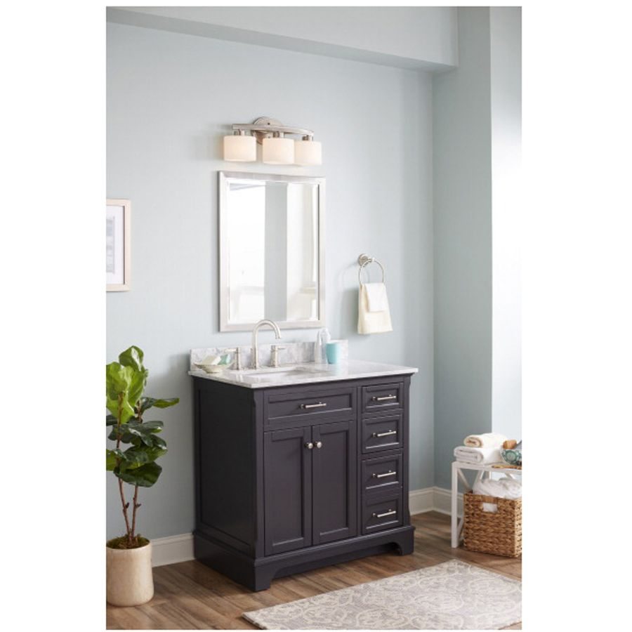 Delicieux Allen + Roth Roveland Gray 36 In Undermount Single Sink Birch Bathroom  Vanity With Natural Marble Top