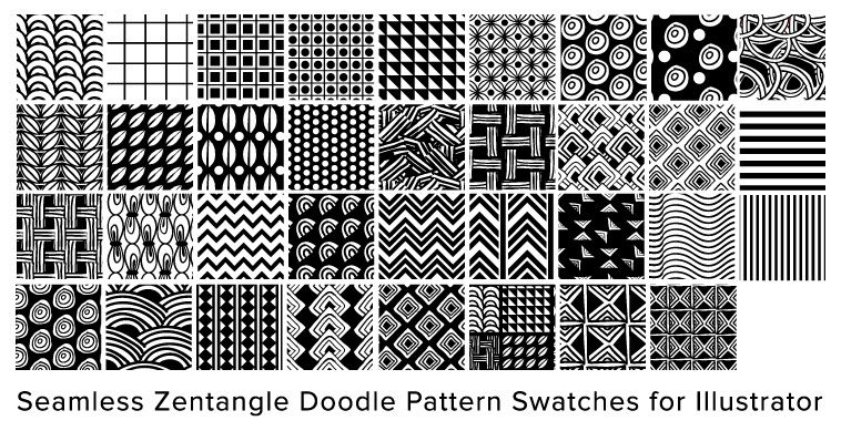 Free Illustrator Seamless Swatches Doodle Pattern Zentangle