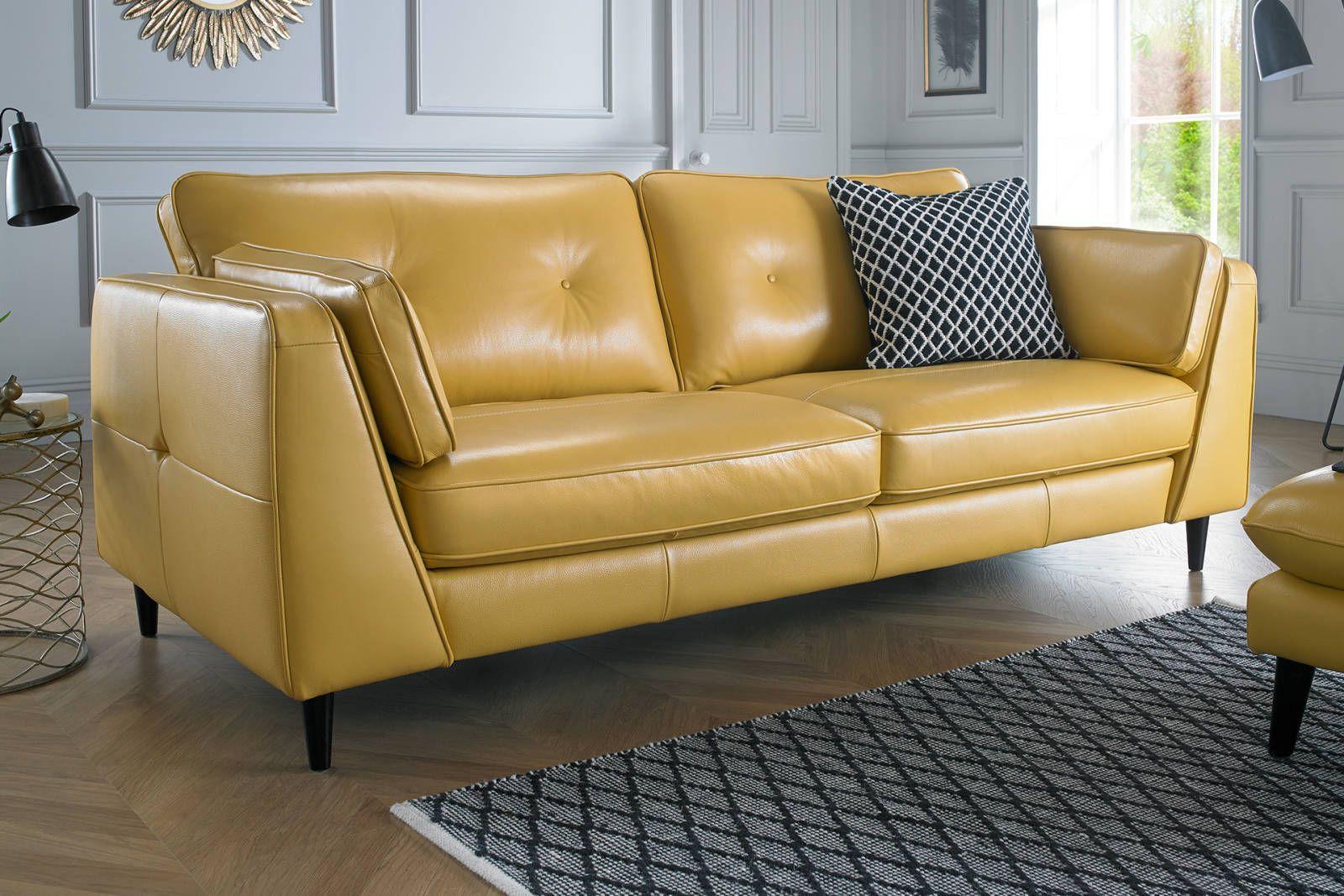 Light Yellow Leather Sofa Cinici