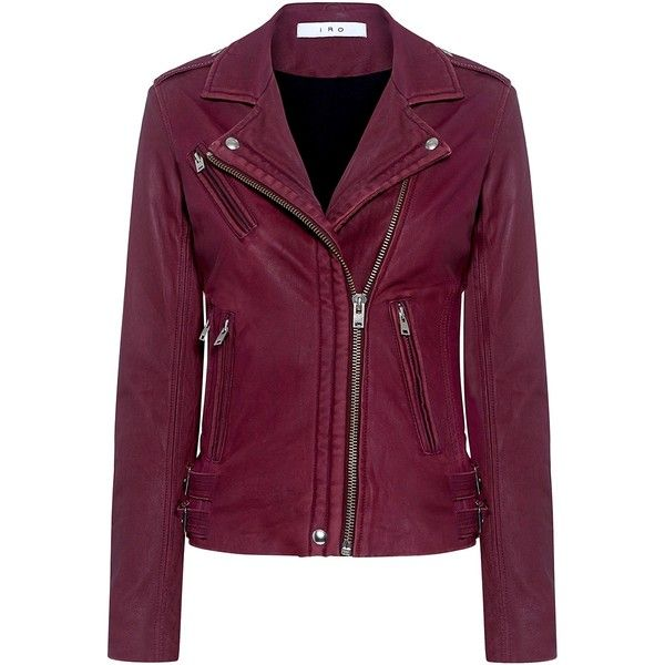 Iro - Han Lambskin Leather Biker Jacket (7 715 SEK) ❤ liked on Polyvore featuring outerwear, jackets, leather jackets, lamb leather jacket, cocktail jackets, moto jackets, purple jacket and iro jacket