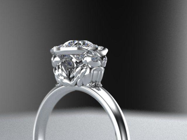 Diamond Owl Halo Engagement Ring 14K White Gold To be