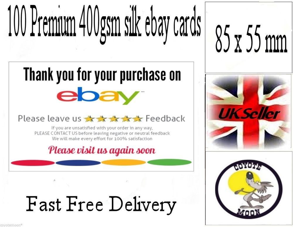 Ebay thank you cards 400gsm silk purchase card seller