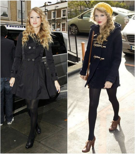 She has the classic trench with full skirt and Topshop navy pea coat.