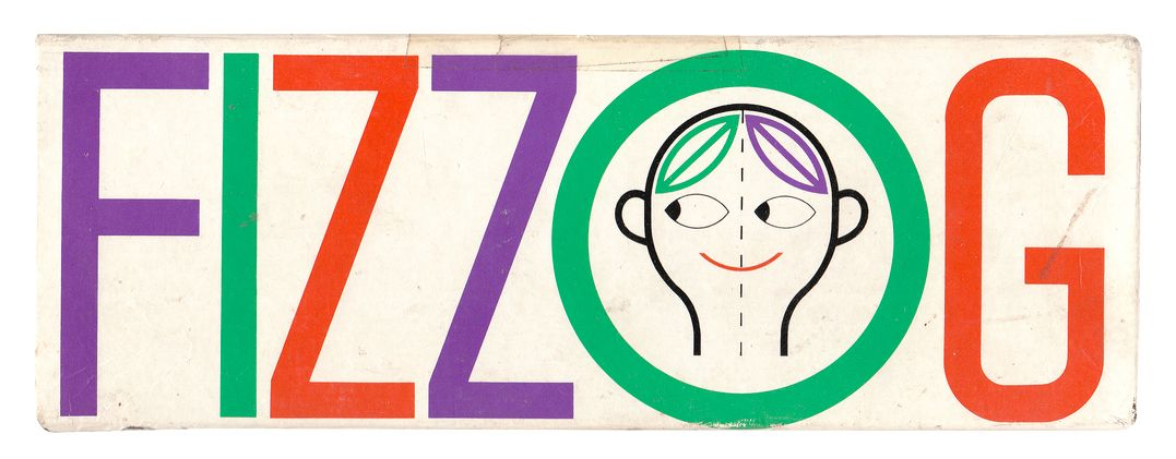 FIZZOG -A card game for children aged 4 to 10 ▪ Designed by Ken Garland and Associates. Made in England by James Galt & Co Ltd, Cheadle, Cheshire. Artwork by Ray Carpenter. 1969