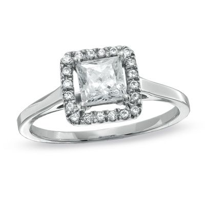 0.50 CT. T.W. Princess-Cut Diamond Framed Engagement Ring in 14K White Gold  - Peoples Jewellers
