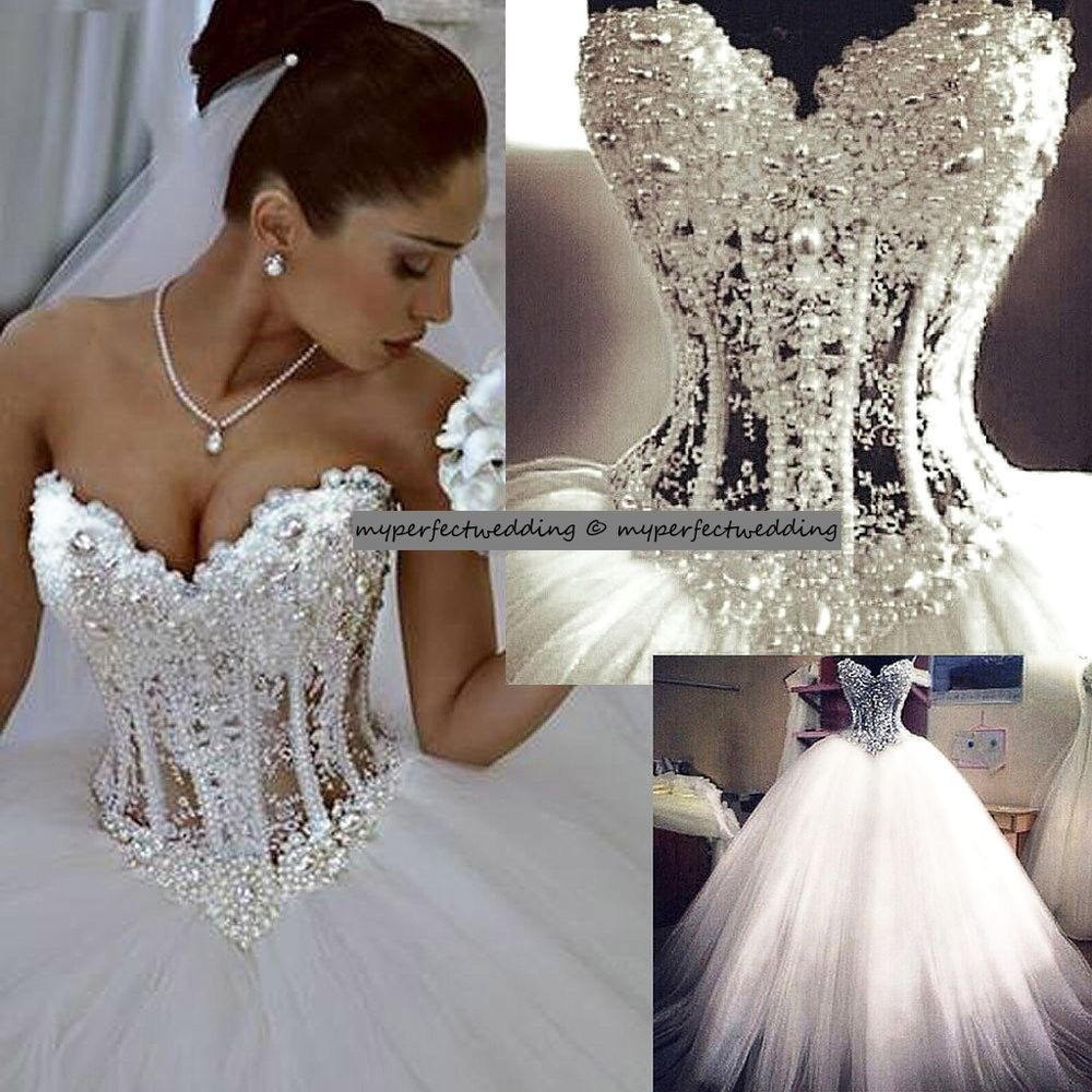 All sizes heavily pearl beaded wedding dress see through for See through corset top wedding dress