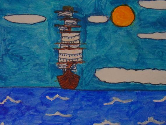 Merchant Ship outsider Original color folk art by arthursimo, $20.00