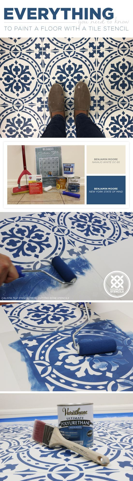 Everything You Need To Know To Paint A Floor With A Tile Stencil - Stencil Stories