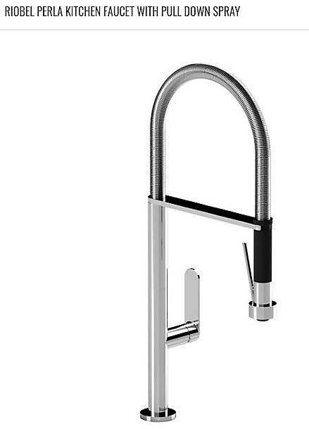 RIOBEL\'s PERLA kitchen faucet with pull down spray. Flexible hose. 2 ...