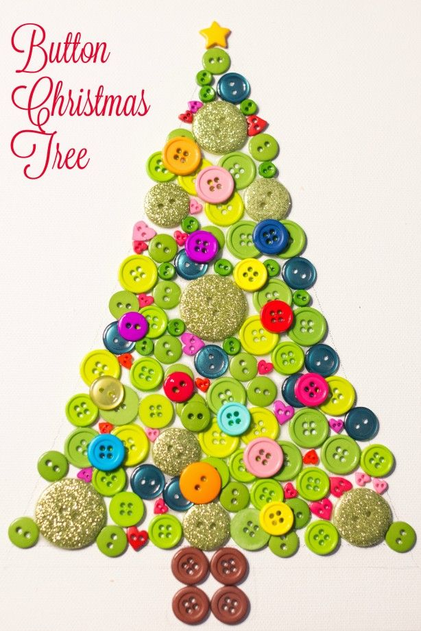 Beautiful button christmas tree button gomb ky for Christmas tree arts and crafts