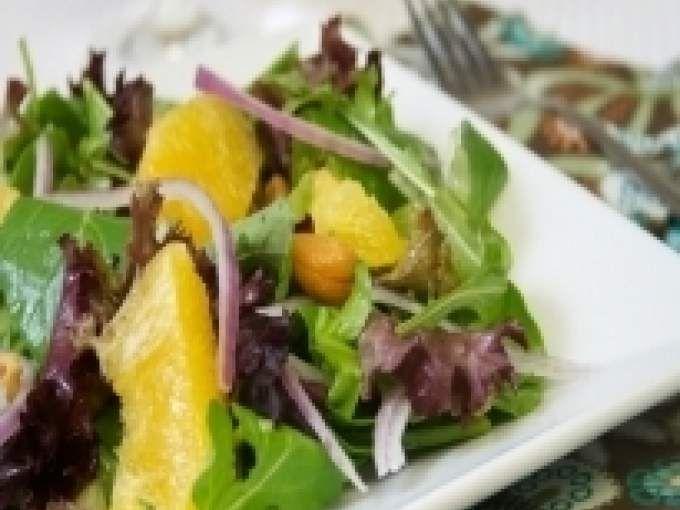 Receita Salada com laranja e castanha de caju