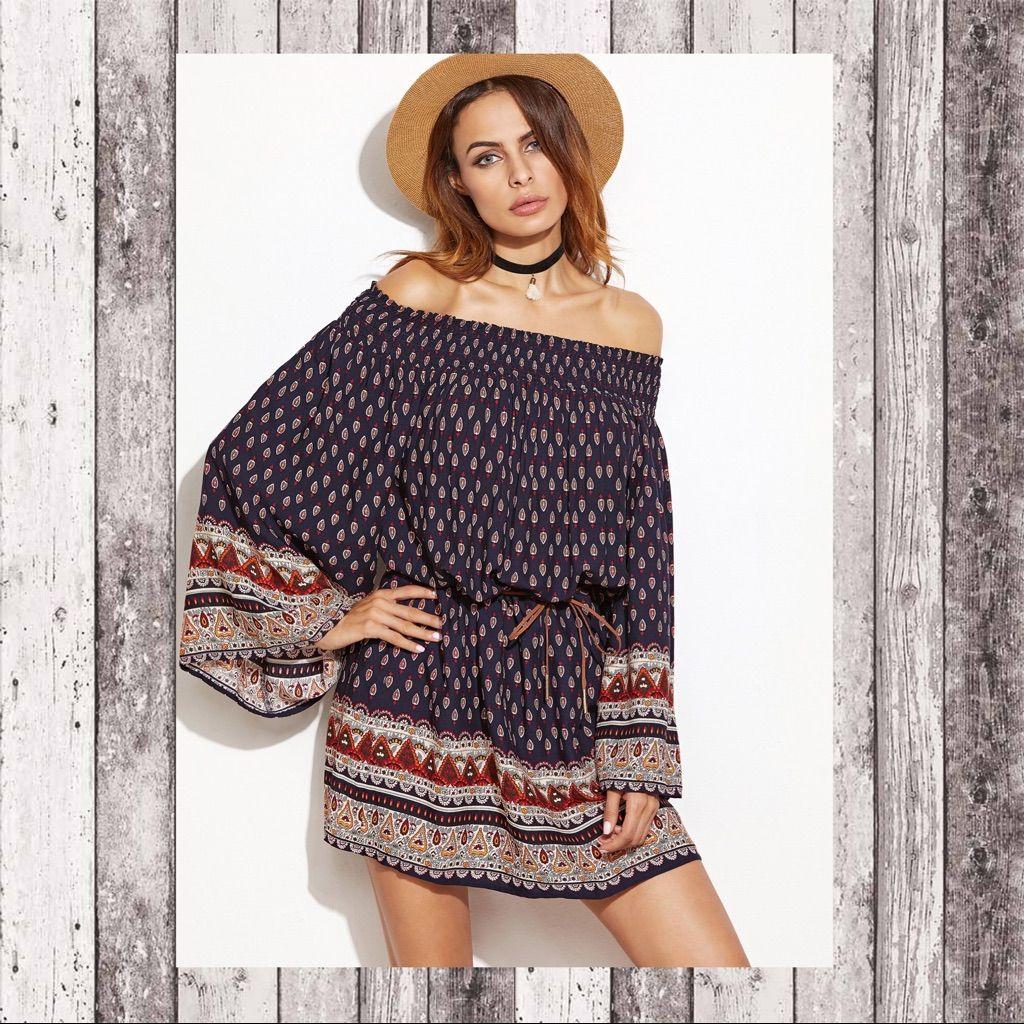 Off shoulder kimono sleeve aztec print dress sz xs aztec and products