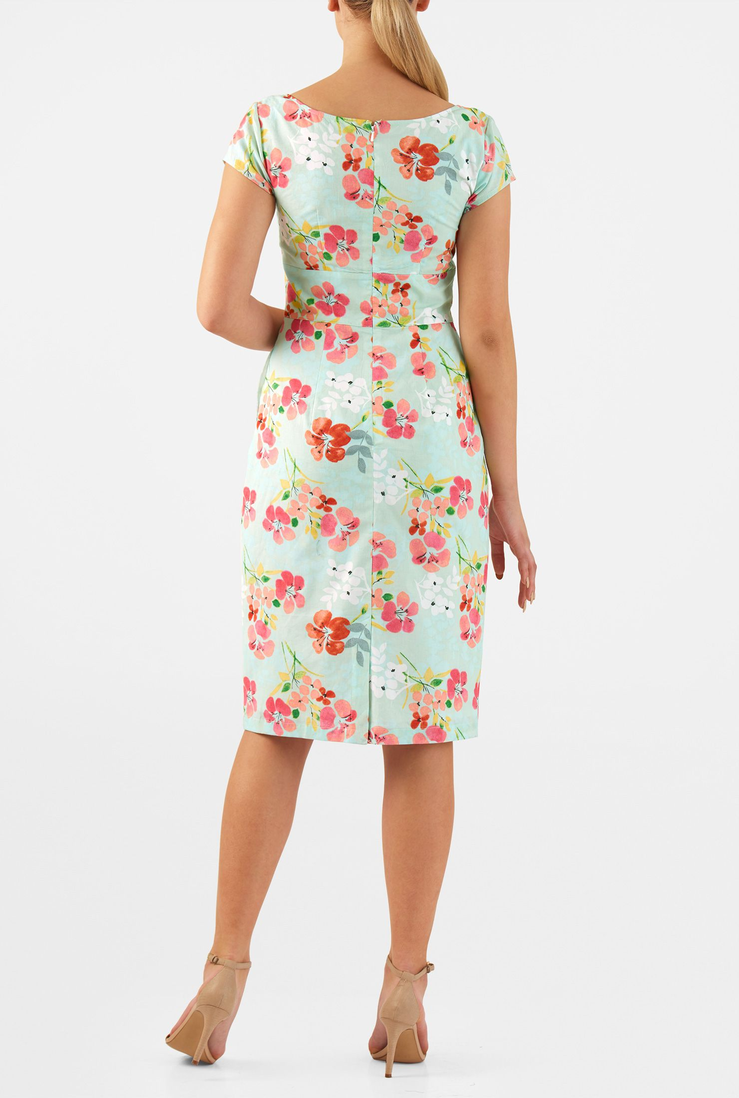 Washed floral cotton print sheath dress pinterest daytime