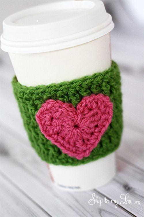 Happy holidays handmade gift idea crochet heart coffee cozy happy holidays handmade gift idea crochet heart coffee cozy voltagebd Images