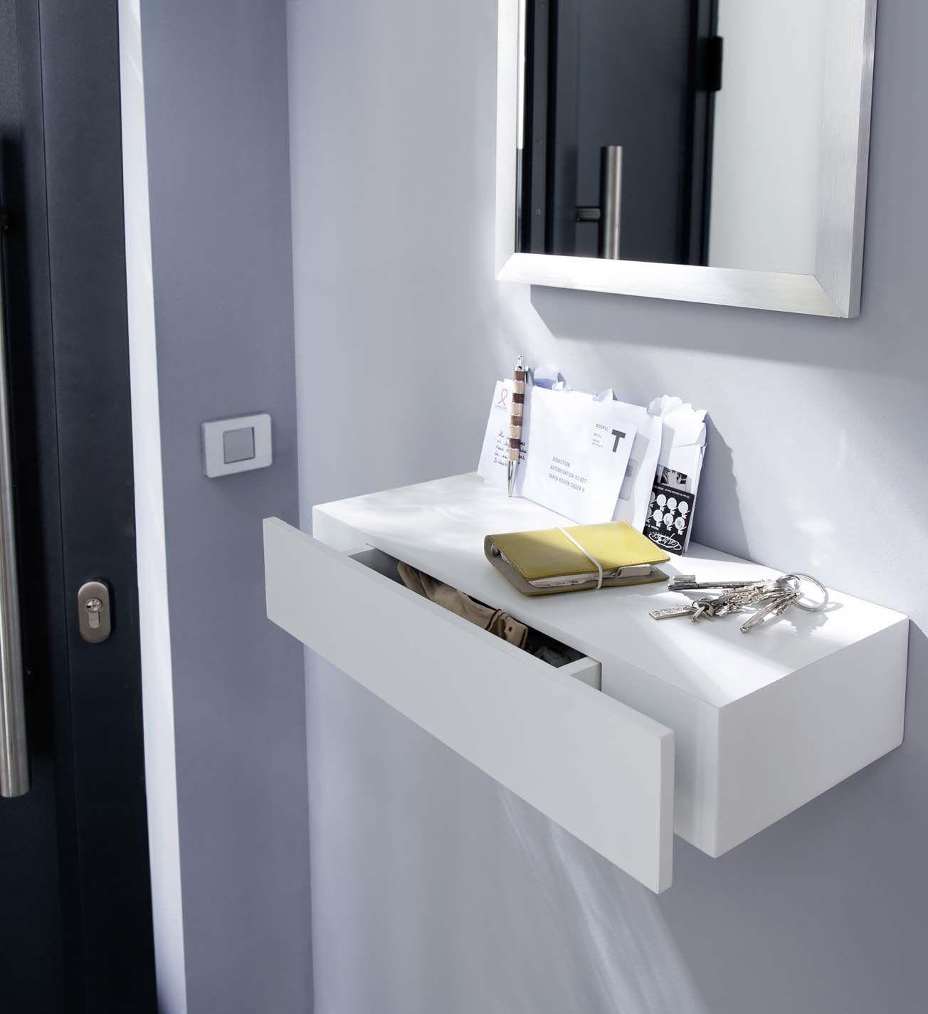 tablette avec tiroir blanc form 50 cm salons. Black Bedroom Furniture Sets. Home Design Ideas