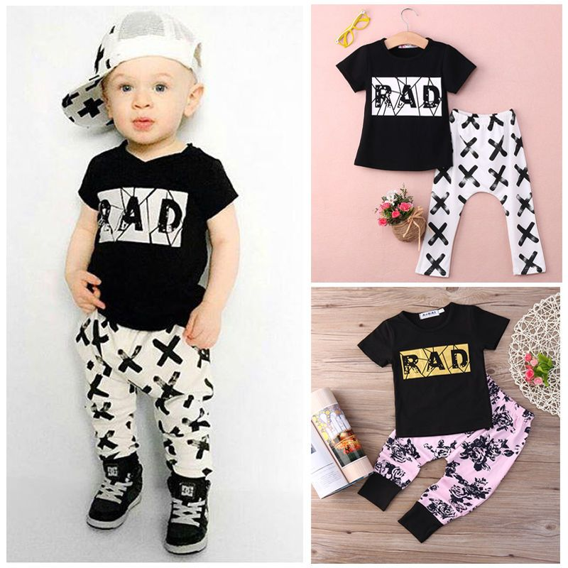 $5.99 (Buy here: http://appdeal.ru/4y6a ) 2016 Summer 2pcs Short Sleeve T-shirt Tops +Pants Outfit Clothing Set Suit Baby Boy clothes  for just $5.99