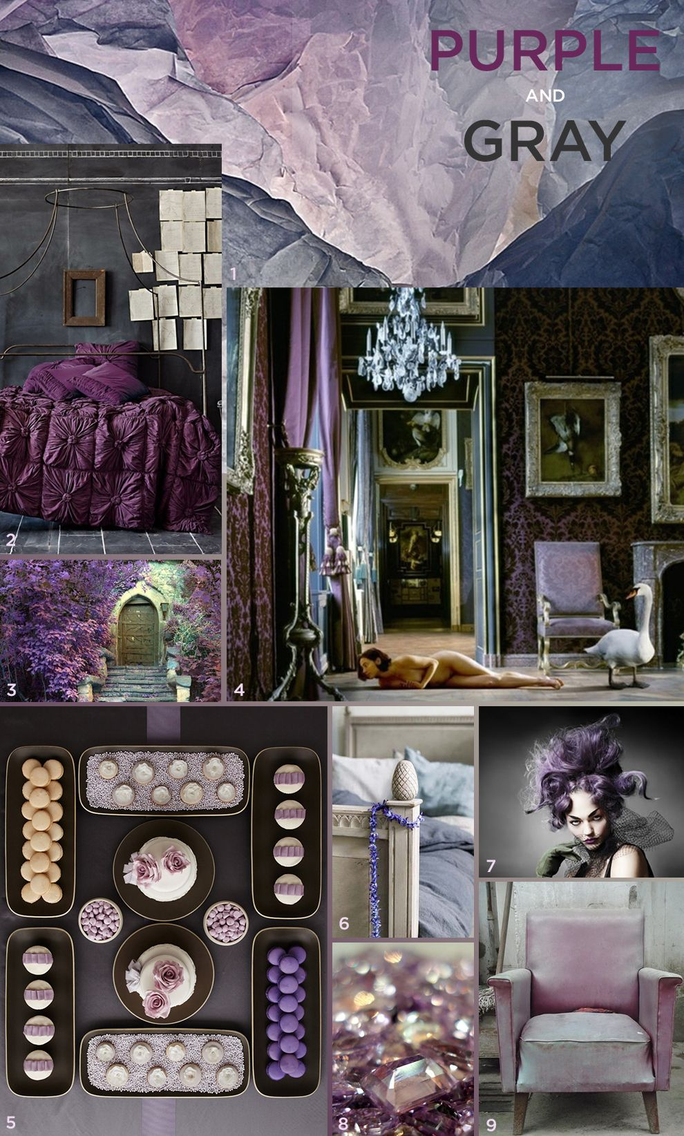 Farbkonzept violett und grau moodboard in 2019 - Magenta wandfarbe ...