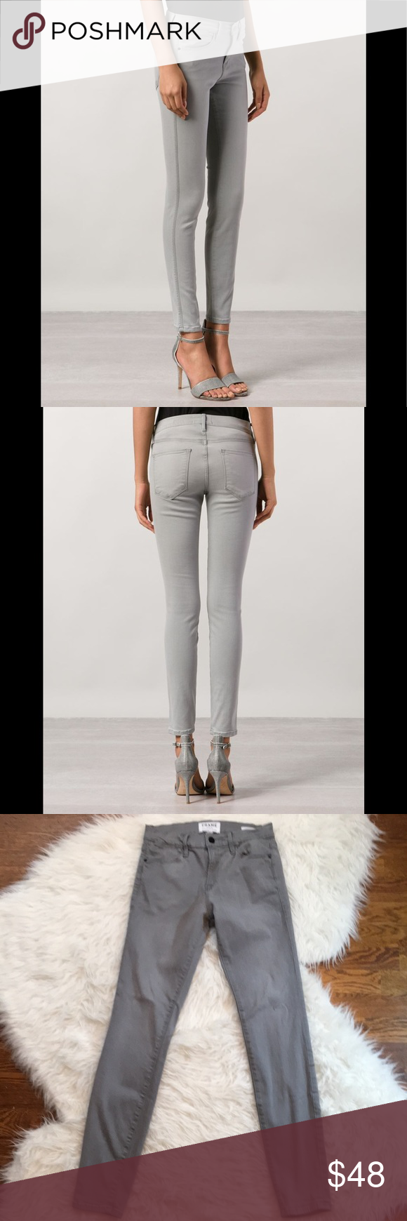"""Frame Le High Skinny Jeans in Grey Frame Le High Skinny jeans in very good condition. Versatile light grey color. The classic '70s high rise inspires these essential jeans modernized in a super-skinny ankle-length cut. Sits above waist. Slim through hips & thigh. Traditional 5-pocket styling. Zip fly with button closure. Rise is about 9,"""" inseam is approximately 28."""" 50% modal, 41.5% cotton, 6% polyester, 2.5% Elastane. Size 26. Frame Denim Jeans Skinny"""
