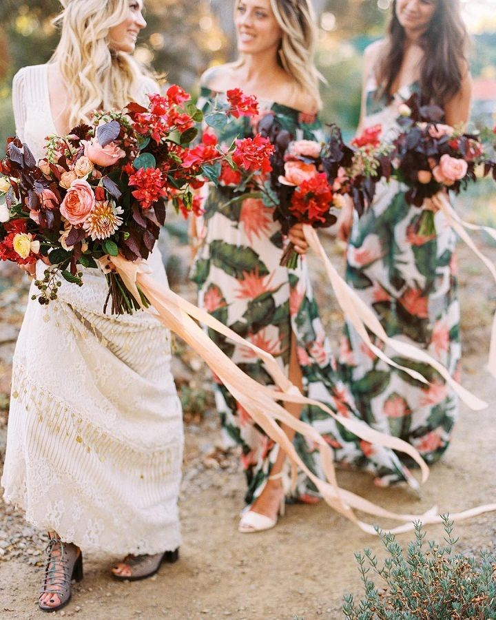 Beautiful autumn wedding bouquets + printed bridesmaid dresses + boho bride