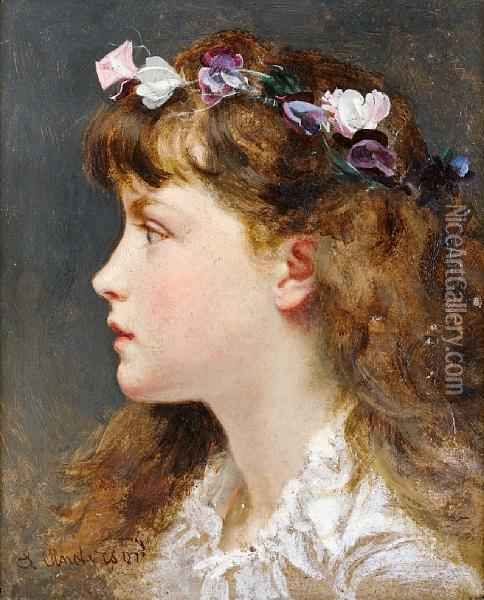 A Young Girl With A Garland Of Flowers In Herhair Oil Painting, Sophie Gengembre Anderson Oil Paintings #garlandofflowers