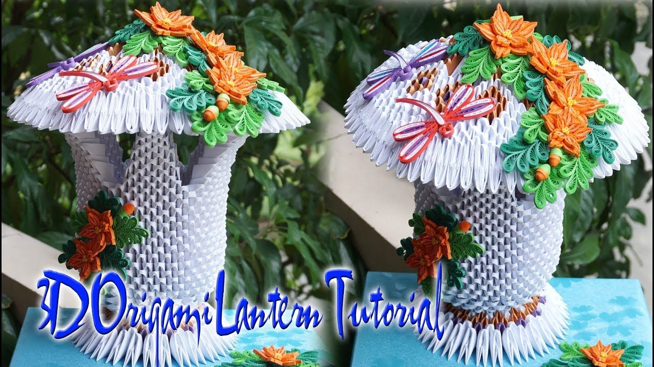 How To Make 3d Origami Lantern 2 Como Hacer 3d Origami Linterna 2 Origami Lantern Christmas Origami Origami And Quilling