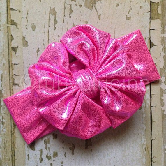 Barbie Girl Metallic Hot Pink Messy Bow Head Wrap by rubyblueinc