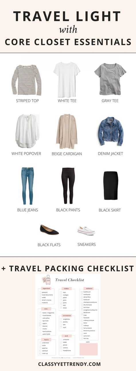 Travel Light with Core Closet Essentials + Free Checklist - Classy Yet Trendy