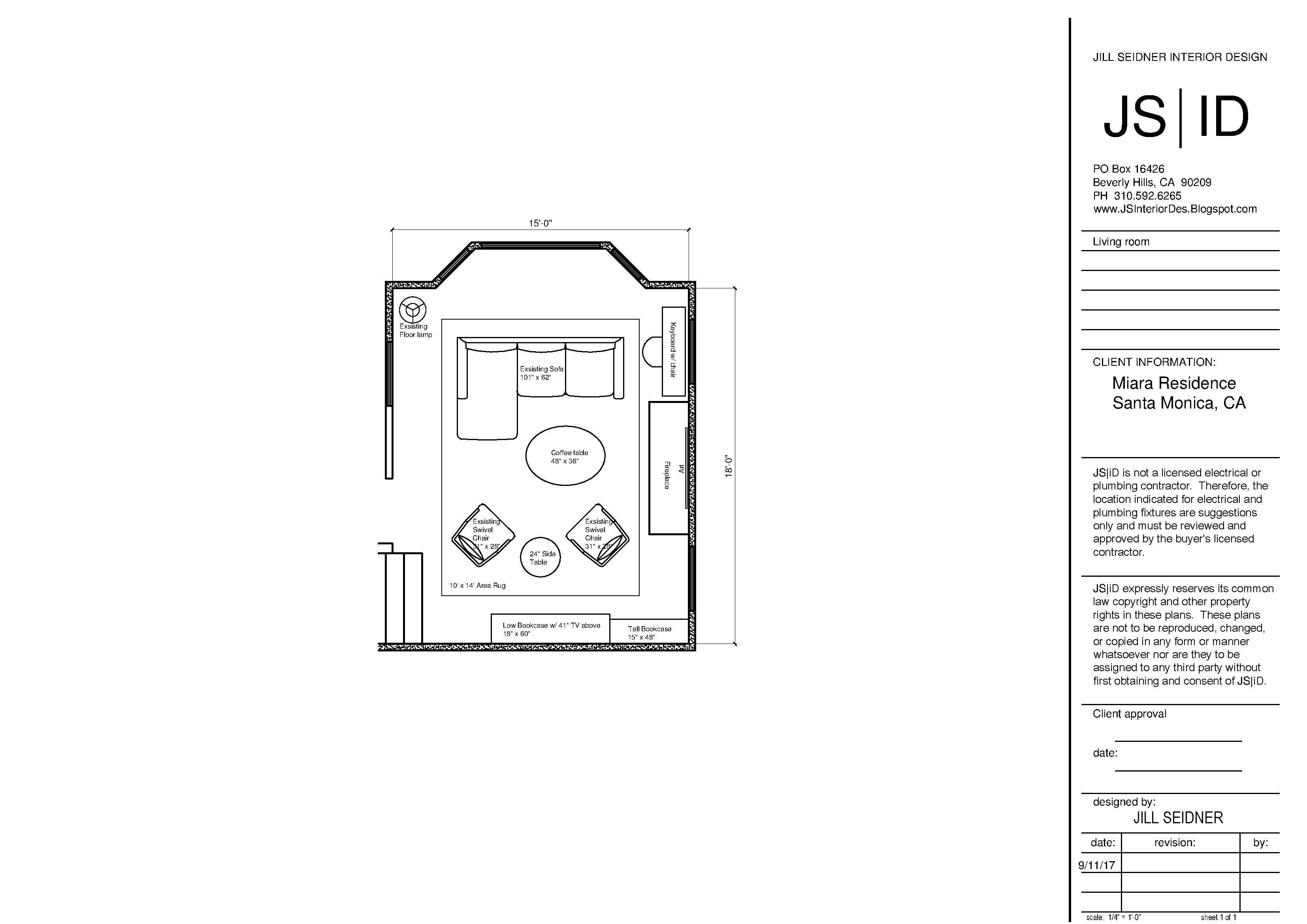 Santa Monica, CA Living Room Furniture Floor Plan Layout ...