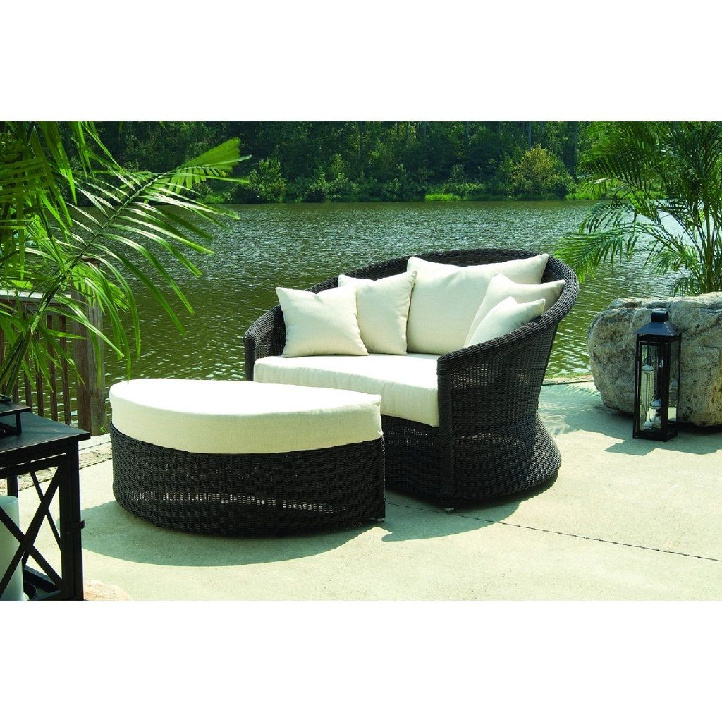 Outdoor Wicker Two Toned Brown White Cushion Pillows Woven