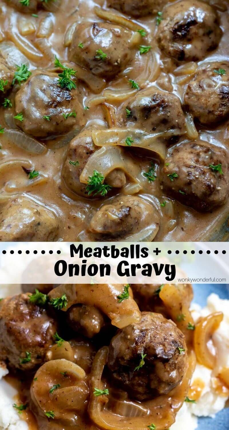 This One-Pan Meatballs and Gravy with Onions is a simple yet satisfying weeknight dinner recipe for the whole family. Easy Swedish-style meatballs smothered with a Sweet Vidalia Onion Gravy served over mashed potatoes, rice or noodles.