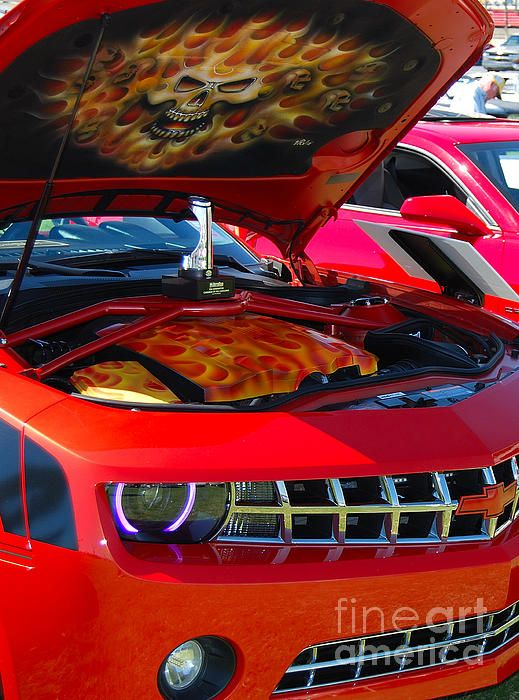 Flaming Skull Custom Paint Job On A New Chevy Camaro