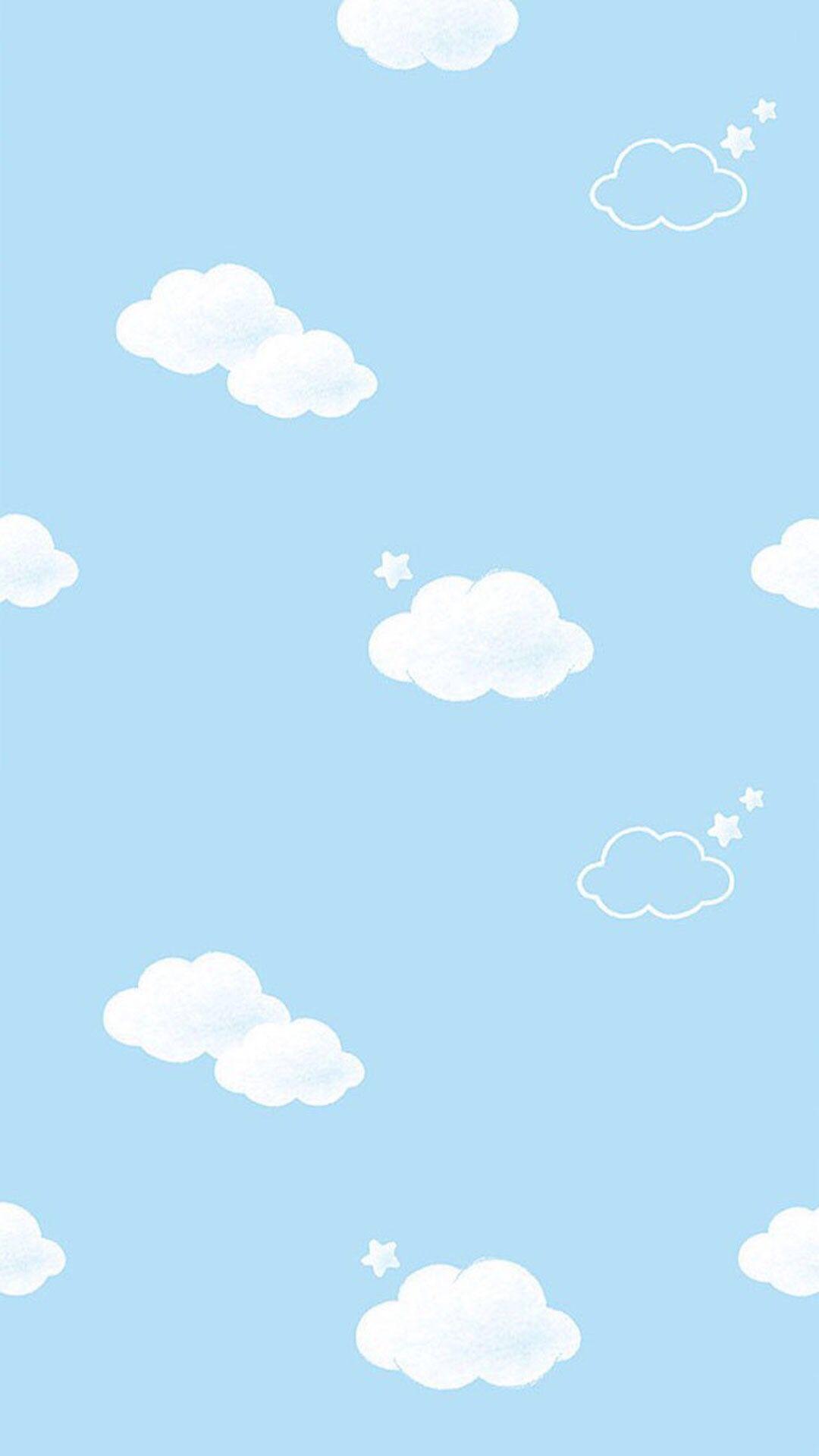 Blue white mini clouds stars iphone wallpaper phone