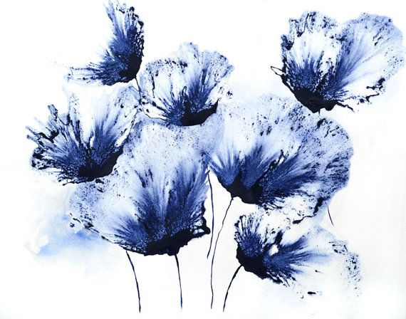 Watercolor floral blue flower painting original by for Painting large flowers in acrylic