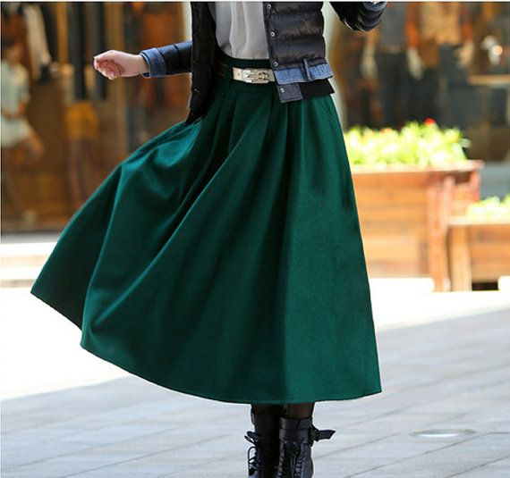 Green long plaited skirt  woolen skirt winter skirt Maxi skirt Long skirt