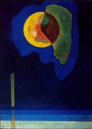"Kandinsky - Yellow Circle - The deeper the blue becomes, the more strongly it calls man towards the infinite, awakening in him a desire for the pure and, finally, for the supernatural... The brighter it becomes, the more it loses its sound, until it turns into silent stillness and becomes white. "" Kandinsky"