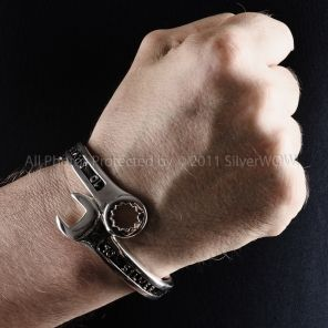 4bf28b99f719f 13mm Silver Spanner Wrench Bangle Bracelet   Mens Silver Bangles ...