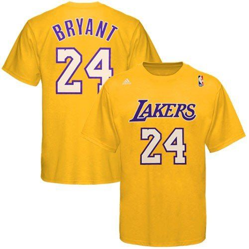Nba Adidas Los Angeles Lakers 24 Kobe Bryant Gold Player Tshirt Xxlarge See This Great Product Lakers T Shirt Nba T Shirts Adidas Los Angeles