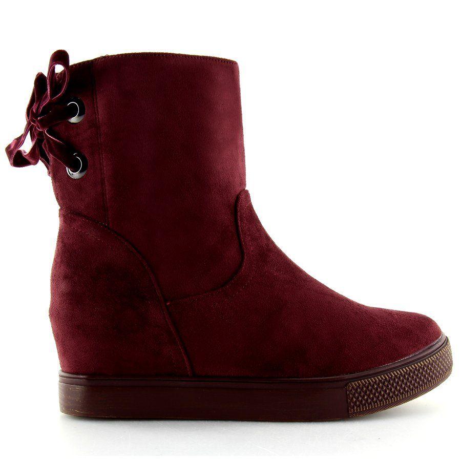 Botki Na Ukrytym Koturnie Bordowe Hq886 Claret Red Czerwone Boots Burgundy Boots Suede Leather