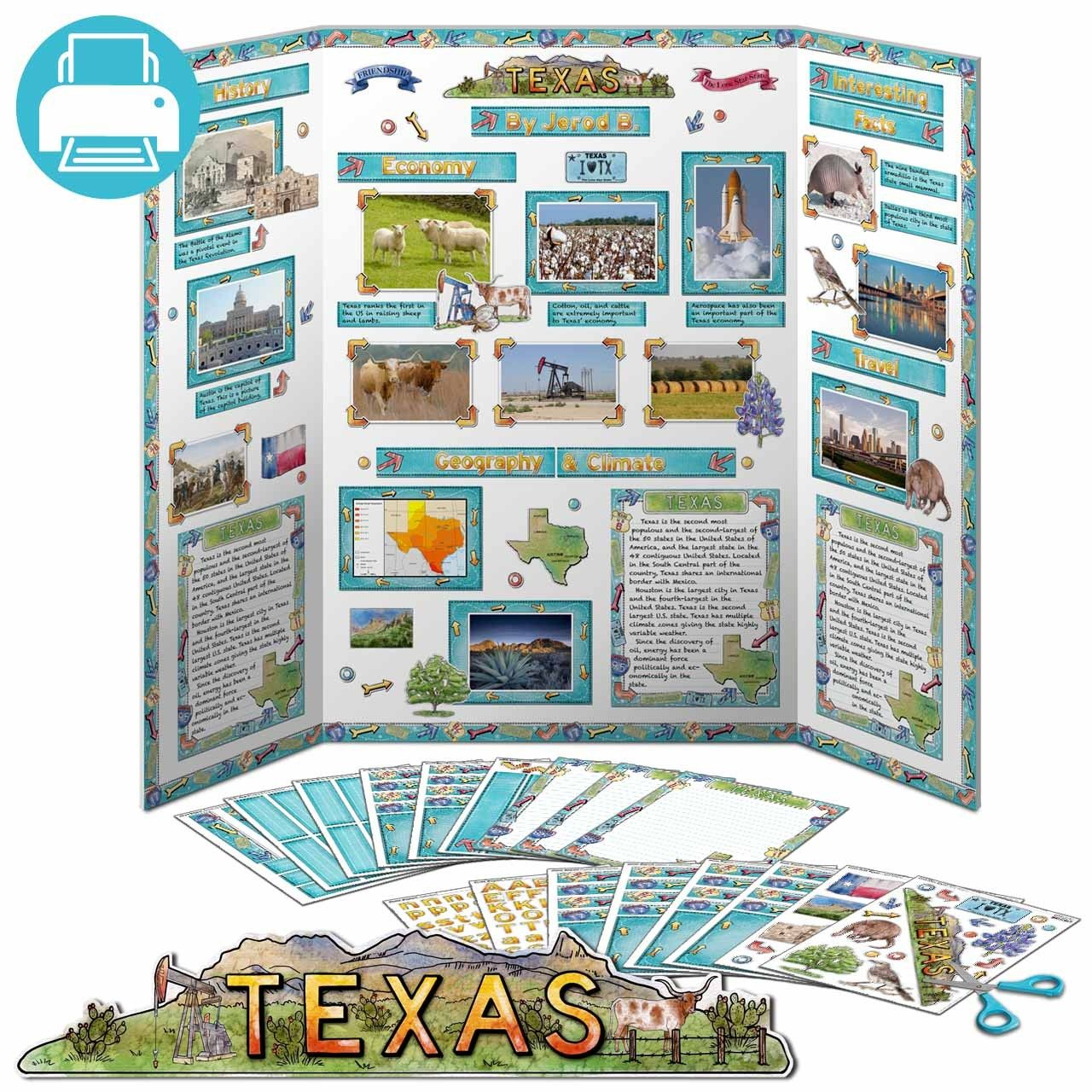 Poster design ideas for school projects - Print Instantly Decorations For A Texas State Report Poster Board Instantly At Home Printable Kit