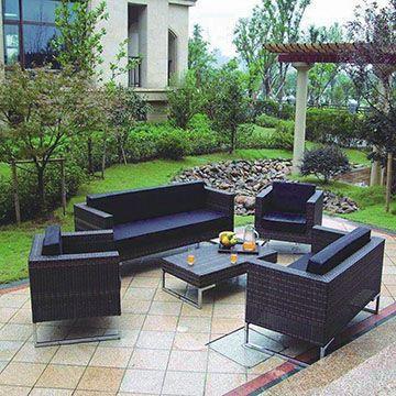 ESSELLA Polyrattan Furniture Set Chicago in black All you need - outdoor küche kaufen