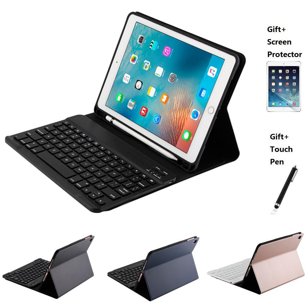 Split Design Leather With Pencil Holder Bluetooth Keyboard Case