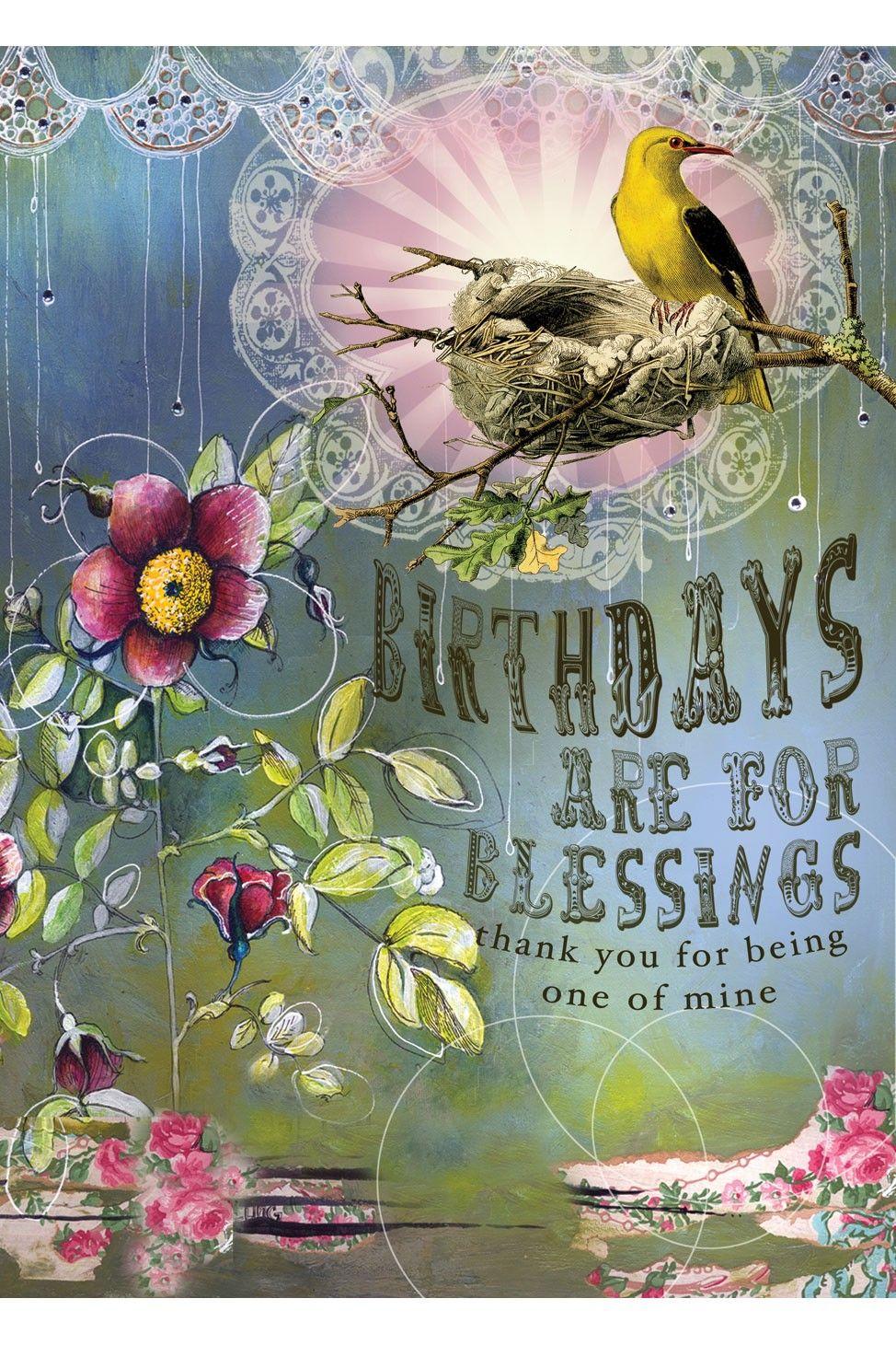 Papaya Art Birthday Blessings 5x7 Card - Occasions Bird Party