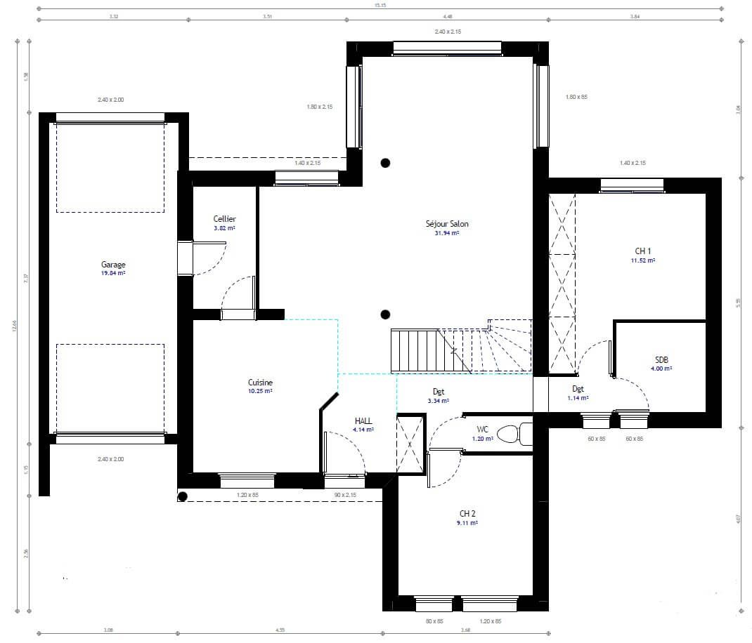Plan Maison Individuelle 4 Chambres 82 Habitat Concept Supprimer Ch2 Plan Maison Plan Maison 4 Chambres Maison Individuelle