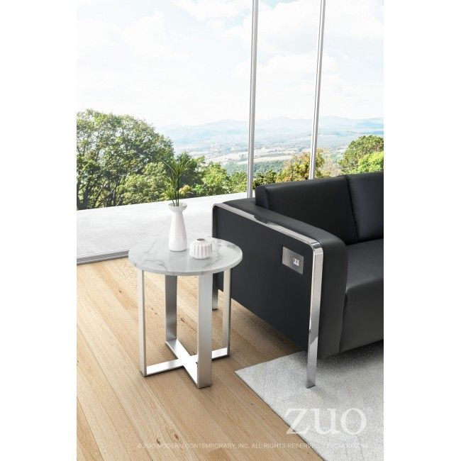 Atlas End Table Stone Amp Brushed Stainless Steel Marble