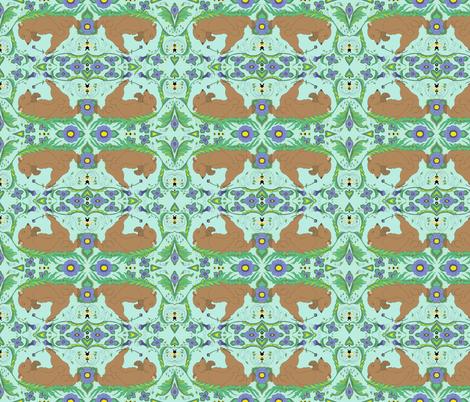 Bear smelling Flower fabric by jencarson on Spoonflower - custom fabric