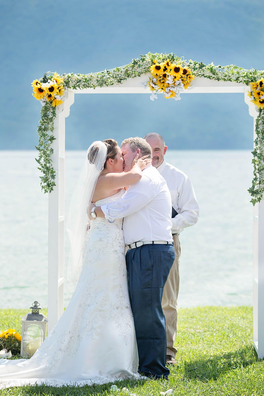 Simple blue u yellow lakefront wedding huddleston va weddings