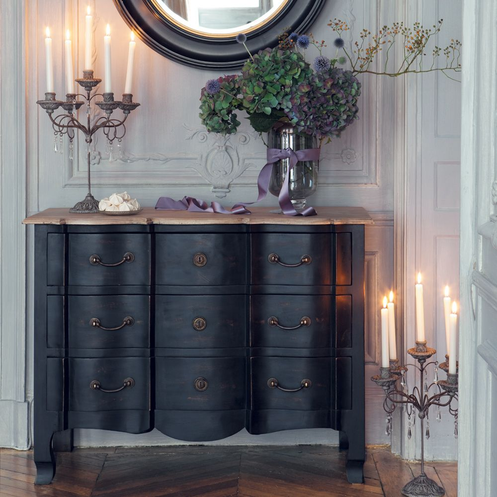 commode en manguier noire l 110 cm versailles maisons du. Black Bedroom Furniture Sets. Home Design Ideas